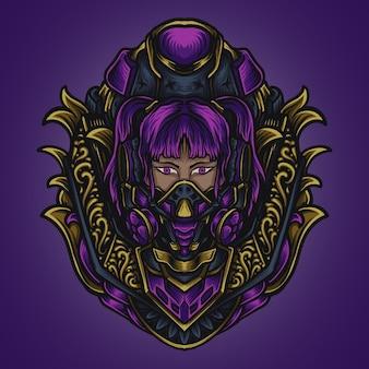 Artwork illustration und t-shirt design cyber punk mädchen gravur ornament