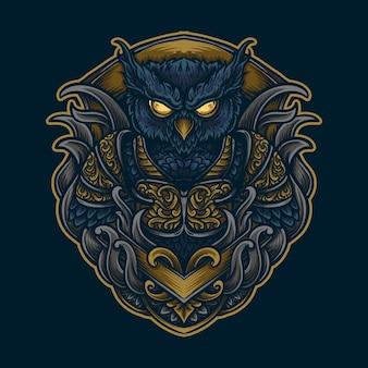 Artwork illustration und t-shirt design eule gravur ornament