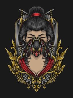 Artwork illustration und t-shirt design geisha gasmaske gravur ornament