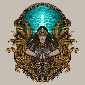Artwork illustration und t-shirt design göttin gravur ornament