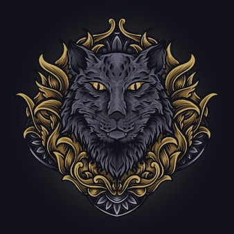 Artwork illustration und t-shirt design katzengravur ornament