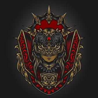 Artwork illustration und t-shirt design königin der dunkelheit gravur ornament
