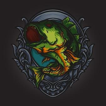 Artwork illustration und t-shirt design pfau bass fisch gravur ornament