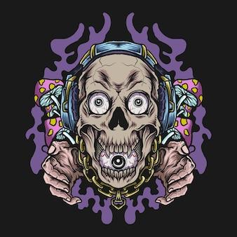 Artwork illustration und t-shirt design schädel mit kopfhörer und pilz