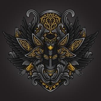 Artwork illustration und t-shirt design schwarzer engel gravur ornament