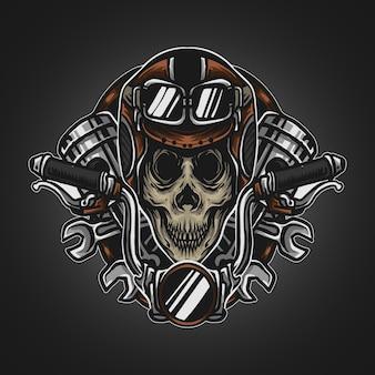 Artwork illustration und t-shirt design totenkopf fahrer maskottchen logo