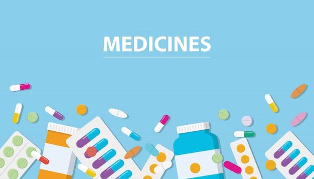 Arzneimittel-drogensammlung mit freiem platz der fahne