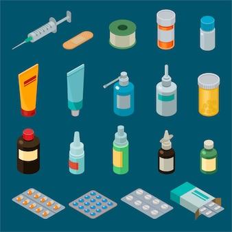 Arzneimittel oder pillen der apothekenvektormedizin in der behälter- oder modellflaschenillustration