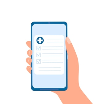 Arzneimittelverschreibung oder medizinische testergebnisse online hand, die smartphone mit medizindokument hält