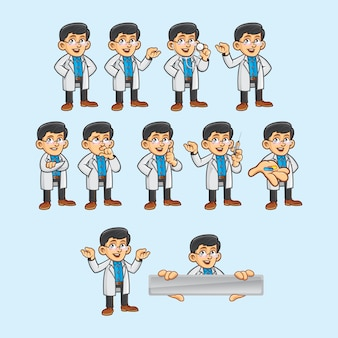 Arzt charakter in verschiedenen posen