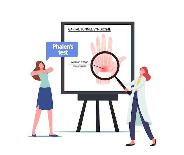Arzt charakter präsentiert infografiken mit karpaltunnelsyndrom aufgrund der medianen nervenkompression im handgelenk. frau macht phalen-test, gesundheitsproblem für büroangestellte. cartoon-menschen-vektor-illustration
