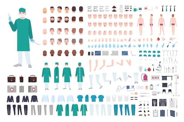 Arzt, chirurg oder sanitäter-konstrukteur oder diy-kit. sammlung männlicher arztkörperteile, gesichtsausdrücke, kleidung, medizinische geräte isoliert auf weißem hintergrund. cartoon-vektor-illustration.