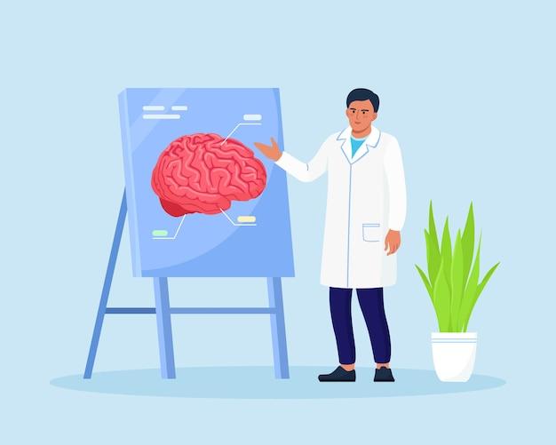 Arzt, der auf demonstrationstafel mit menschlichem gehirn zeigt, erklärt seine möglichkeiten. arzt oder wissenschaftler, der über alzheimer, demenzsymptome, geisteskrankheit unterrichtet. medizinische konferenz