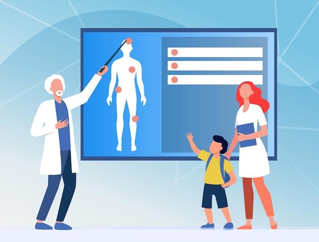 Arzt, der dem kind die menschliche anatomie erklärt. krankenschwester, junge, körper flache vektorillustration. medizin und bildung