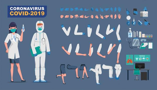 Arzt, der den charakter der patientenerstellung vor dem ausbruch des coronavirus bewahrt und gegen covid-19 kämpft.