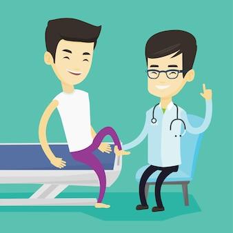 Arzt, der den knöchel eines patienten überprüft.
