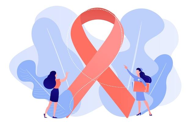 Arzt, der der weiblichen patientin das bewusstseinsband für brustkrebs zeigt. brustkrebs, onkologiefaktor für frauen, konzept zur prävention von brustkrebs. isolierte illustration des rosa korallenblauvektorvektors