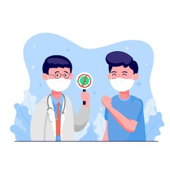 Arzt, der eine medizinische schutzmaske trägt, überprüft mit dem mann, ob ein coronavirus gescannt wurde. er ist nicht infiziert. weltkonzept für corona-viren und covid-19-ausbrüche und pandemie-angriffe.