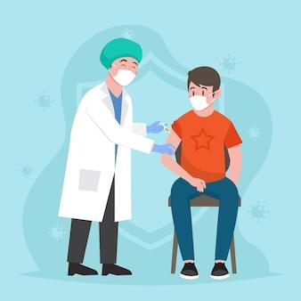 Arzt, der einem patienten impfstoff injiziert