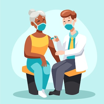 Arzt, der einem patienten in der klinik impfstoff injiziert