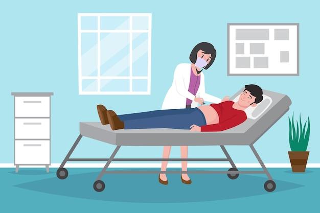 Arzt, der einen patienten in der klinik untersucht