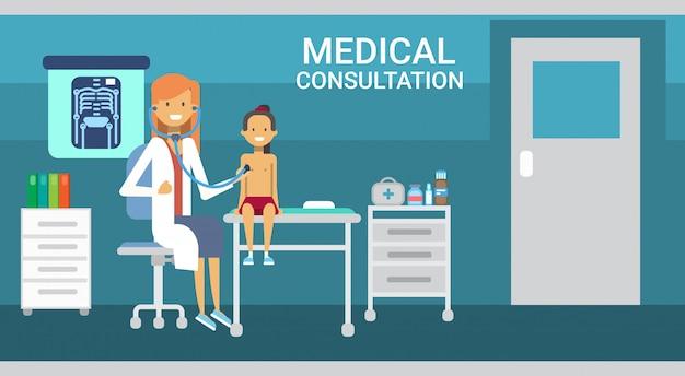 Arzt, der geduldige medizinische beratung health care clinics hospital service medicine banner untersucht