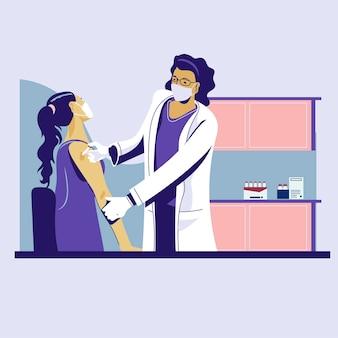 Arzt, der medizinische gesichtsmaske trägt, die dem weiblichen patienten injektion des virusimpfstoffs tut