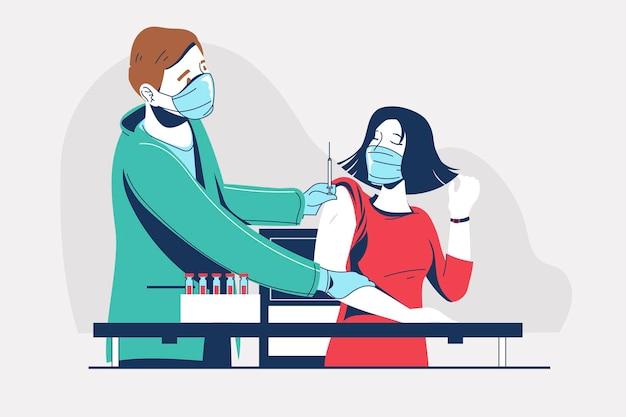Arzt, der medizinische gesichtsmaske trägt, die injektion des virusimpfstoffs zum geschäftsfrauenpatienten tut