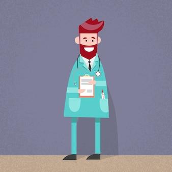 Arzt, der Papierdokumenten-Analyse hält
