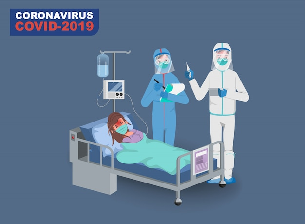Arzt, der patienten vor dem ausbruch des coronavirus rettet und das coronavirus bekämpft. krank mit covid-19.