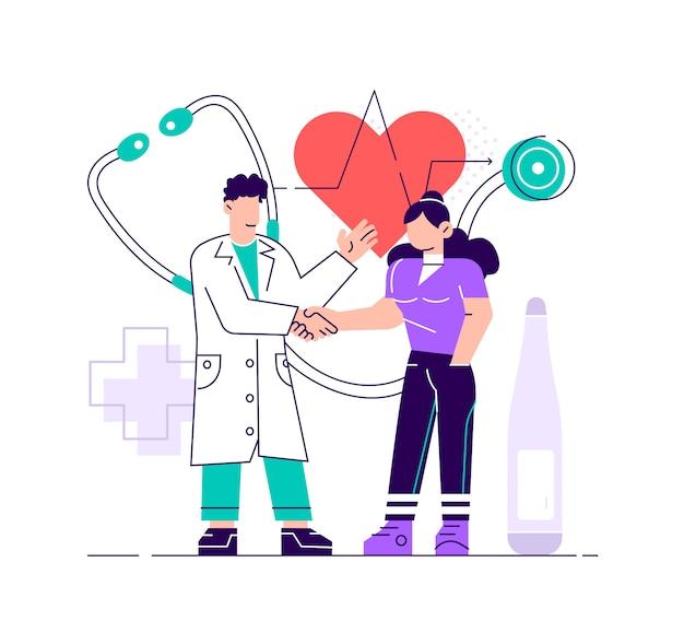 Arzt, der sich um die gesundheit des patienten kümmert, für ein medizinisches untersuchungs-, kontroll- oder beratungskonzept. medizinillustration auf lokalisiertem hintergrund. eps10-vektor. moderne designillustration des flachen stils.