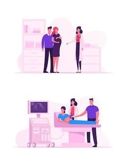 Arzt, der ultraschall-fetus-screening-untersuchung in der klinik durchführt. karikatur flache illustration