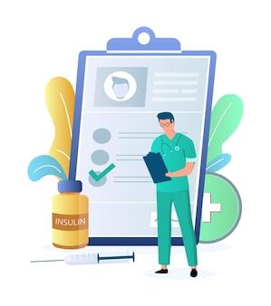 Arzt endokrinologe mit patientenakte spritze vektor illustration diabetes medikamente insulin t...