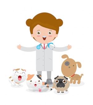 Arzt frau tierarzt und haustiere: katze, hund. isoliert auf weißem hintergrund illustration