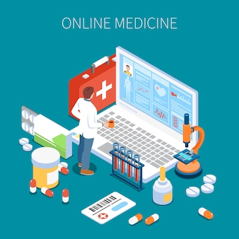 Arzt für isometrische zusammensetzung der telemedizin, der informationen über die gesundheit des patienten auf dem blauen laptopbildschirm studiert