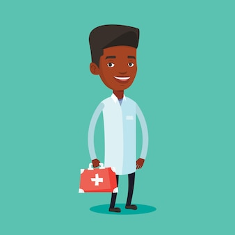 Arzt hält erste-hilfe-box.