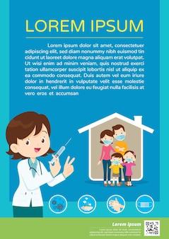 Arzt hält spritze mit covid-impfstoff und familie mit medizinischer schutzmaske