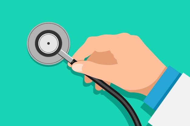 Arzt hand hält stethoskop medizinische geräte inspektion gesundheitswesen flache vektor-illustration auf