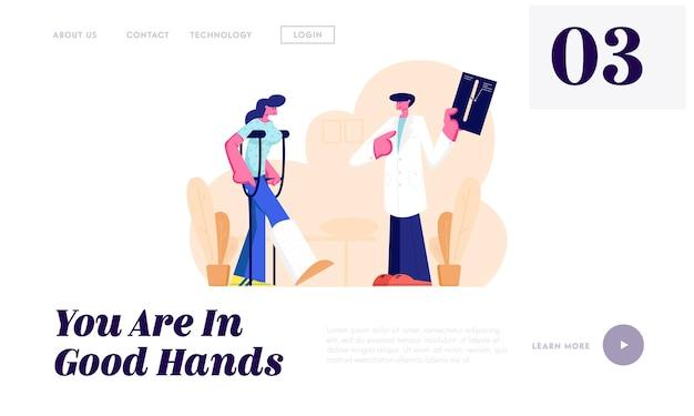 Arzt hört auf patienten, der auf krücken mit gebrochenem bein steht und röntgenbild mit gliedmaßenfraktur zeigt. gesundheitswesen, krankenhaus website landing page, webseite. karikatur-flache vektor-illustration