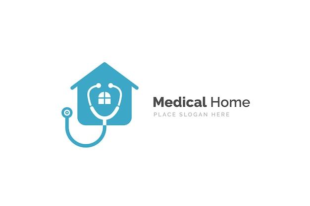 Arzt-home-logo-design mit stethoskop-symbol