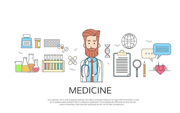Arzt-ikonen-männliche porträt-medizin-fahnen-dünne linie