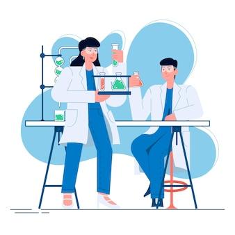 Arzt in der flachen illustration des labors