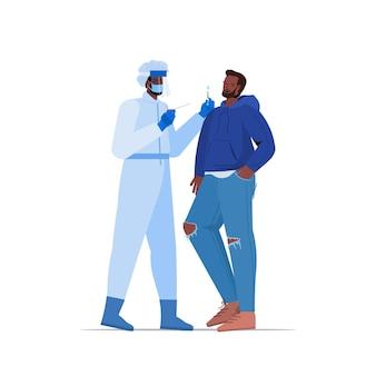 Arzt in der maske, die tupfertest für coronavirus-probe vom afroamerikanermann-patienten-pcr-diagnoseverfahren covid-19-pandemiekonzept in voller länge vektorillustration nimmt