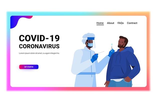 Arzt in der maske, die tupfertest für coronavirus-probe vom afroamerikanermann-patienten-pcr-diagnoseverfahren covid-19-pandemiekonzeptporträtkopieraum-vektorillustration nimmt