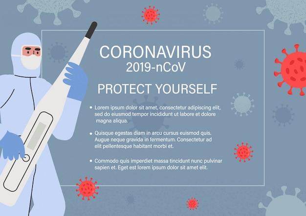 Arzt in einem ganzkörperschutzanzug. coronavirus.