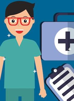 Arzt in gläsern mit erste-hilfe-kit und zwischenablage