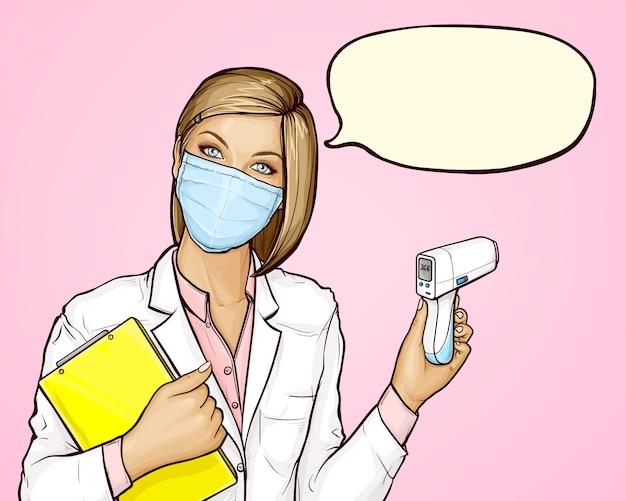 Arzt in medizinischer maske mit berührungslosem thermometer