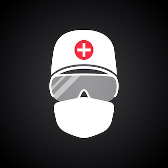 Arzt in schutzanzug und medizinischer maske