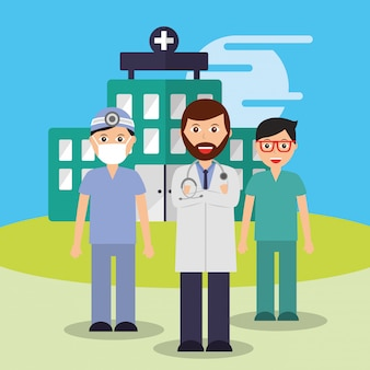Arzt krankenschwester und chirurgenpersonal ärzteteam krankenhaus