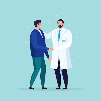 Arzt kümmert sich um die gesundheit des patienten. ärztliche untersuchung, untersuchung, beratungskonzept. therapeut im weißen kittel. praktizierender spricht mit dem menschen. cartoon design